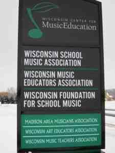 Wisconsin School Music sign