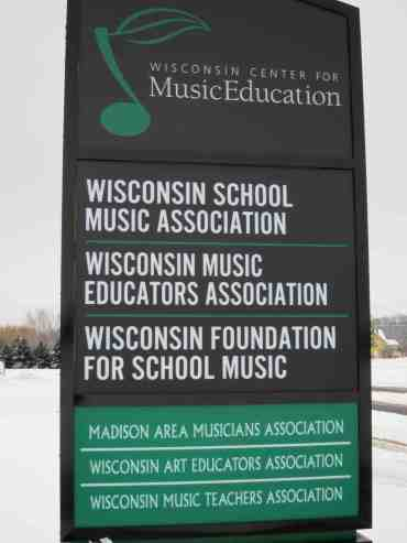 Wisconsin School Music sign