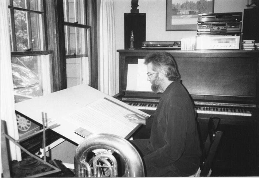John Stevens writing with tuba and piano