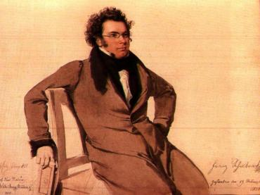 Schubert watercolor by Wilhelm August Reider 1825