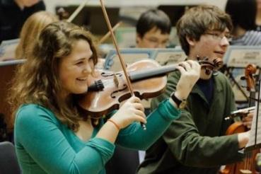 WYSO rehesrsal Philharmonia Violins