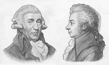 Haydn (left) and Mozart (right)