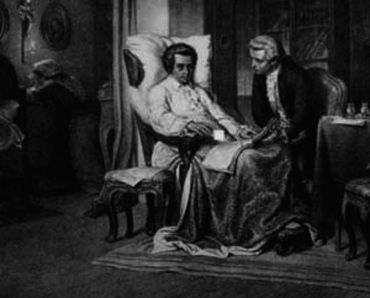 Franz Xaver Sussmayrwith dying at Mozart's deathbed