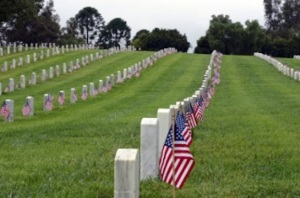 graves with flags USE day