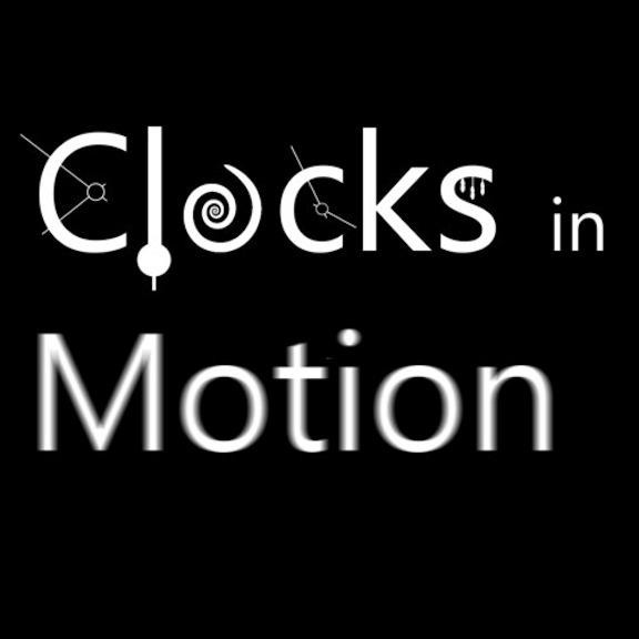 Clock in Motion Logo white on black square