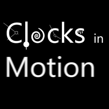 Clock in Motion Logo white on black square