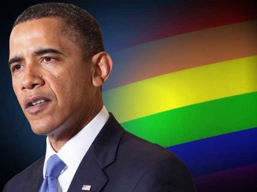 Obama and rainbow banner