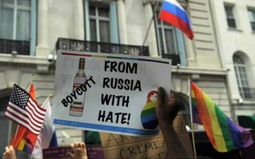 pro-gay protest in russian with vodka boycott