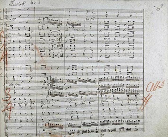 Classical music: In manuscript, Beethoven's Ninth Symphony
