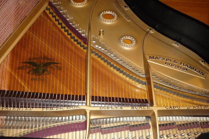 Mason and Hamlin harp and strings