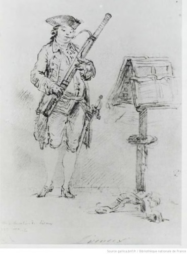Bassoon playing %22%22Le chevalier de Liroux jouant le bassoon%22 from Bibliotheque Nationale de France