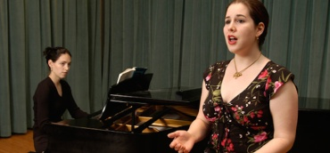accompanying singer and piano