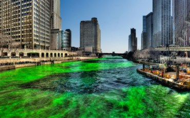 Green Chicago River on Saint Patricks Day