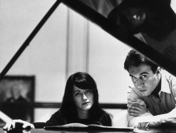 Martha Argerich and Claudio Abbado young BW