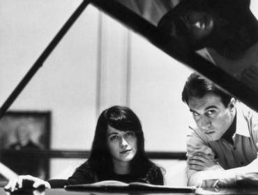 Martha Argerich and Claudio Abbado young BW