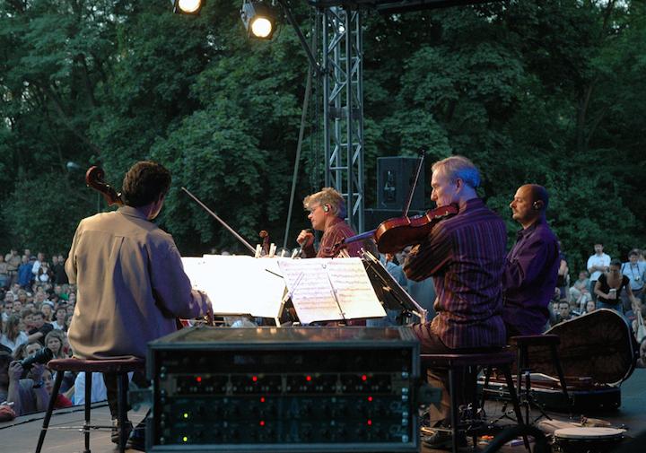 Kronos quartet outdoors in warsaw in 2006