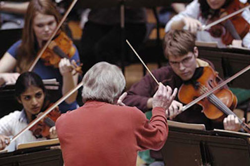 UW Chamber Orchestra rehearsing under James Smith