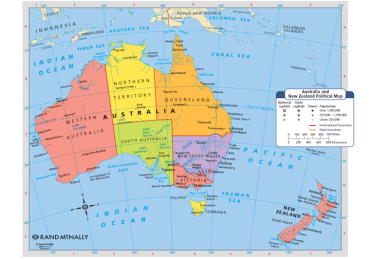 Map of Australia and New Zealand