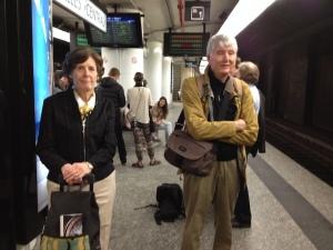 PAQ essay 2 Linda and Bob Graebner on train platform Sarah Schaffer