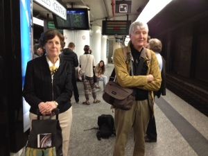 PAQ essay 2 Linda and Bob Graebner on train platform Sarah Schaffer