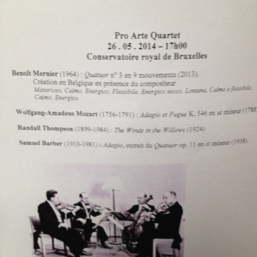PAQ in Belgium Conservatory program for concert 1