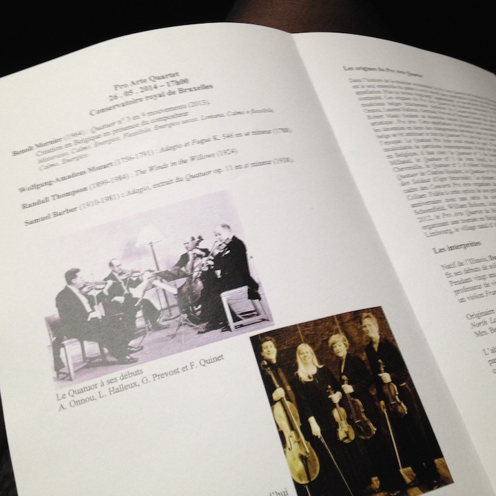 PAQ in Belgium conservatory program old and new quartets
