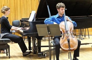 Cello Choir 2014 Brian Klickman, Claire Mallory piano
