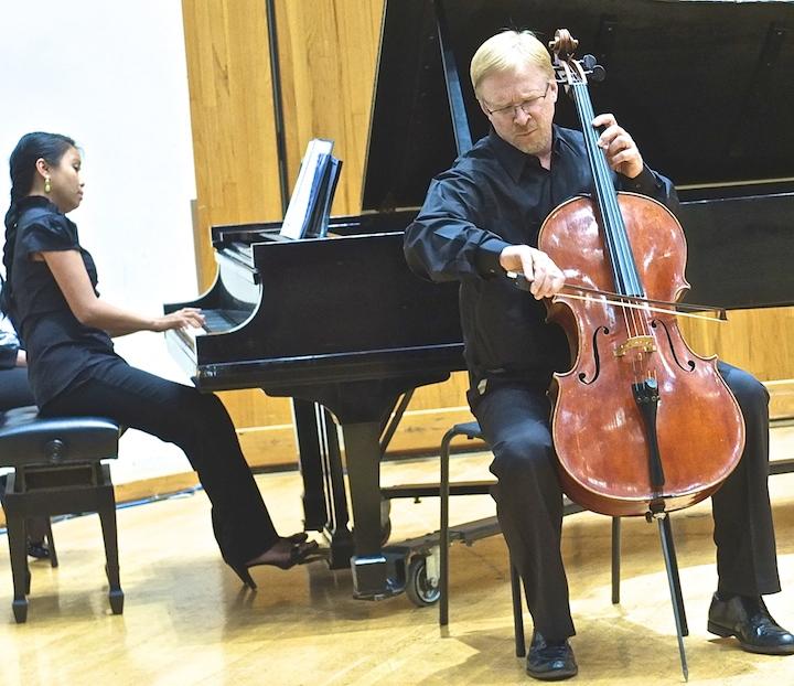 Cello Choir 2014 Steven Laven, Christina Lalog piano