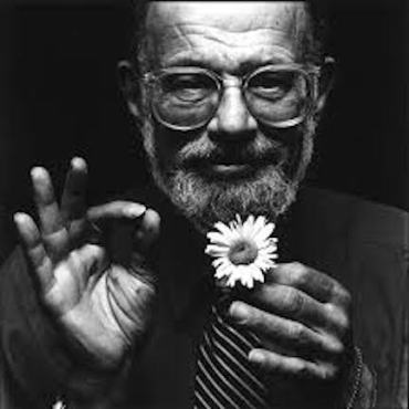 allen ginsberg with flower