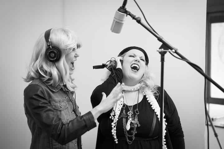 Band Fresco recording in studio