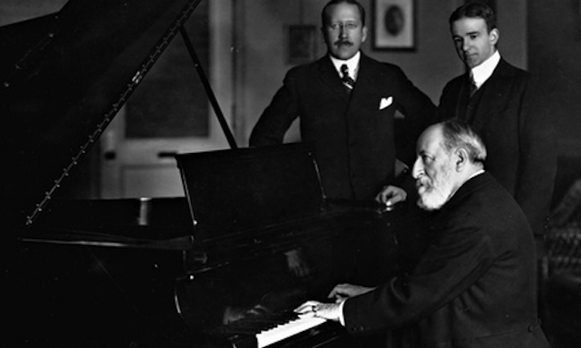 Camille Saint-Saens at the piano