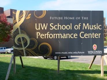 UW new music hall sign