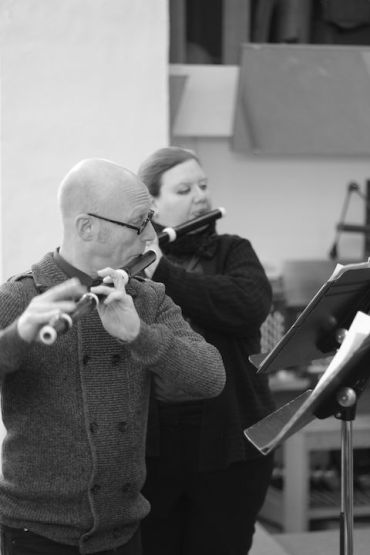Wisconsin Baroque Ensemble flutist Brett Lipshutz and Monica Steger BW