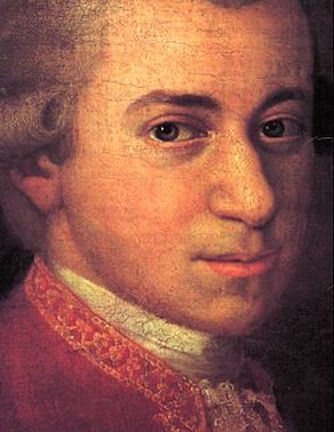 Mozart c 1780 detail of portrait by Johann Nepomuk della Croce