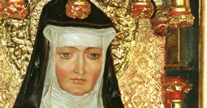 ST. HILDEGARD OF BINGEN DEPICTED IN ALTARPIECE AT ROCHUSKAPELLE IN GERMANY