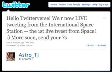 Sample Tweet from space