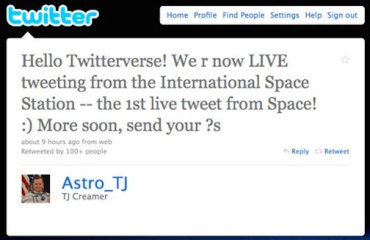 Sample Tweet from space