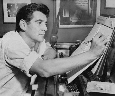 Leonard Bernstein composing in 1955