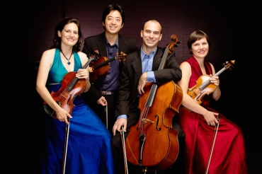 Jupiter Quartet at Studio Theatre, Krannert Center for the Performing Arts. From left: Liz Freivogel, Nelson Lee,  Daniel McDonough, and Meg Freivogel