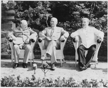 Potsdam L to R British Prime Minister Winston Churchill President Harry S. Truman and Soviet leader Josef Stalin