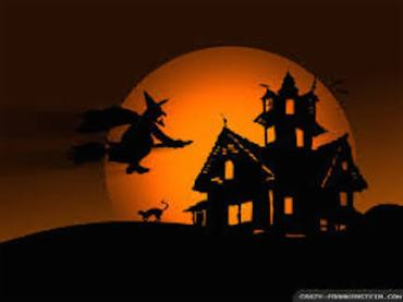 Halloween witch and haunted house