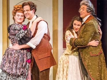 Marriage of Figaro dress rehearsal. Tia Cleveland (Marcellina), Joel Rathmann (Figaro), Anna Whiteway (Susanna), Thomas Weis (Bartolo).