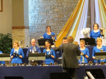 Madison Area Concert Handbells in concert close up